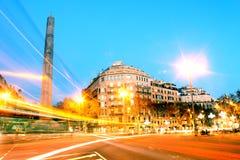 Rua diagonal em Barcelona, Espanha Foto de Stock