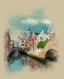 Rua do canal em Veneza, Itália Esboço da aquarela