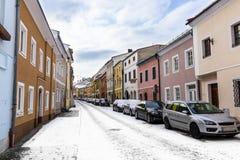 Rua do inverno em Freistadt - Upper Austria imagem de stock