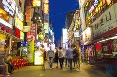 Rua do restaurante em seoul central Coreia do Sul imagem de stock