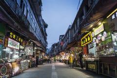 Rua do restaurante perto do mercado central da porcelana da cidade de xiamen fotos de stock royalty free