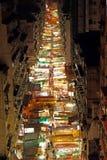 Rua do templo com muitas cabines em Hong Kong Fotos de Stock Royalty Free