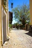 Rua dos detalhes das construções históricas da arquitetura de Rhodos Grécia Foto de Stock Royalty Free