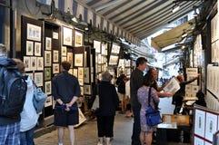 Rua dos pintores em Quebec City, Canadá Imagens de Stock Royalty Free