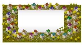 Rua e casas lisas Conceito isométrico de Infographic 3d da navegação de GPS da paisagem ilustração stock