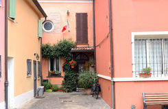 Rua e casas velhas Rimini Fotografia de Stock