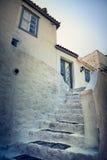 Rua e escadaria na ilha do Hydra, Grécia Imagens de Stock