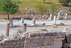 Rua em Ephesus, a cidade de Curetes do grego clássico em Turquia Fotos de Stock Royalty Free