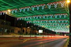 A rua em Muscat decorou com luzes Imagens de Stock Royalty Free