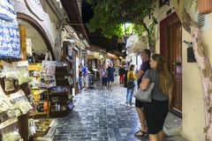 Rua em Rethymno Fotos de Stock Royalty Free