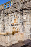 Rua Escura Fountain located near the Porto Cathedral and the pillory Stock Images