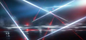 Rua escura, reflex?o da luz de n?on no asfalto molhado Raios do laser claro e vermelho na obscuridade foto de stock