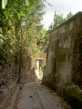 Rua estreita com parede de pedra Fotos de Stock Royalty Free