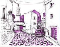 Rua estreita com uma estrada de pedra esboço ilustração do vetor