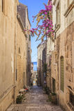 A rua estreita de Korcula, ilha de Korcula na Croácia Foto de Stock Royalty Free