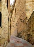 Rua estreita medieval em Salamanca, Espanha Buildi velho bonito Imagens de Stock