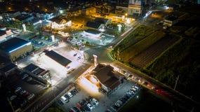 Rua japonesa aérea, exposição longa do zangão Imagem de Stock