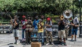Rua Jazz Performers do bairro francês de Nova Orleães fotografia de stock