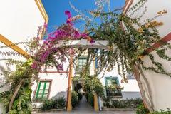 Rua luxúria colorida em Puerto de Mogan fotografia de stock