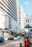 Rua luxuosa da compra da estrada do cantão em Hong Kong foto de stock