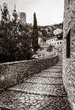 Rua medieval em Pocitelj Fotografia de Stock