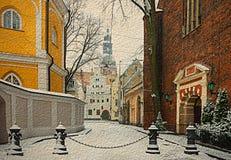 Rua medieval na cidade velha de Riga, Letónia Imagens de Stock