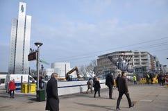 Rua movimentada em Dusseldorf!! Fotografia de Stock Royalty Free