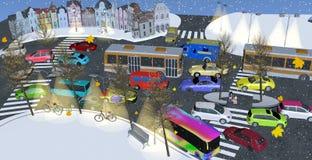 A rua movimentada encheu-se com os carros e os ônibus coloridos no inverno Imagens de Stock