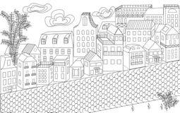 A rua, muitas casas, construções, um ornamento para adultos, estilo alinha, rua da cidade ilustração stock