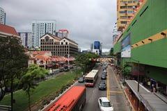 Rua na cidade de China, Singapura foto de stock