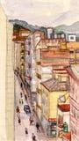 Rua na cidade pequena ilustração stock