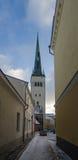 Rua na manhã gelado de Tallinn da cidade velha Imagem de Stock Royalty Free