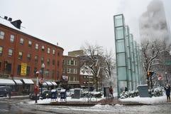 Rua nevado após a tempestade do inverno em Boston, EUA o 11 de dezembro de 2016 Imagens de Stock