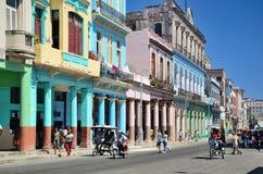 Rua no centro de Havana Imagens de Stock
