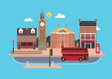 Rua no estilo liso do projeto, Reino Unido da cidade Foto de Stock Royalty Free