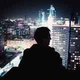 Rua nova de Arbat, telhando olhe as luzes de Moscou Imagens de Stock Royalty Free