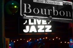Rua Nova Orleães de Bourbon Fotografia de Stock