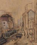 Rua Novosbobodskaja ilustração stock