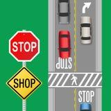 Rua ocupada do sinal da parada dos carros do tráfego ilustração do vetor