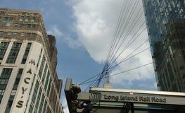34a rua Penn Station, estrada de trilho de Long Island, MTA LIRR, ` s Herald Square de Macy, Empire State Building, NYC, EUA Imagem de Stock