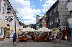 Rua pequena na cidade de Poprad Foto de Stock