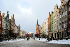 Rua principal na cidade de Gdansk no tempo de inverno Fotografia de Stock