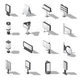 Rua que anuncia os ícones isométricos ajustados ilustração stock