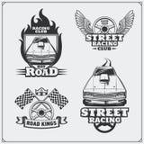 Rua que compete emblemas, etiquetas, crachás e elementos do projeto Estilo do vintage Fotografia de Stock