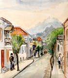 A rua que conduz nas montanhas ilustração royalty free