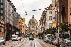 Rua real em Bruxelas Imagem de Stock