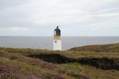 Rua Reidh灯塔在Gairloch 库存照片