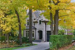 Rua residencial alinhada árvore imagens de stock royalty free