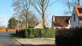 Rua residencial suburbana com as casas em Bélgica fotografia de stock royalty free