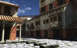Rua romana antiga com aqueduto Foto de Stock Royalty Free